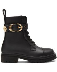 Versace Jeans Couture ブラック レザー ハイキング ブーツ