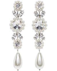 Simone Rocha Boucles d'oreilles pendantes blanches Jewelled Cameo - Multicolore