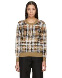 Burberry - Beige Wool Check Jumper - Lyst