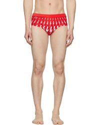 Neil Barrett Red Lightning Bolt Swim Briefs - Multicolour