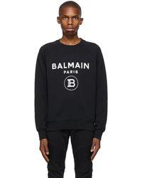 Balmain - ブラック & ホワイト ロゴ スウェットシャツ - Lyst