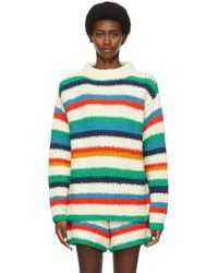 The Elder Statesman Off-white Organic Cotton Stripe Jumper