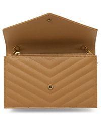 Saint Laurent Tan Monogramme Envelope Chain Wallet Bag - Brown