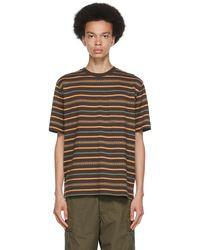 Beams Plus Brown Jacquard Stripe Pocket T-shirt