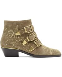 Chloé - Beige Embellished Three Strap Ankle Boots - Lyst