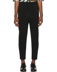 Homme Plissé Issey Miyake Black Tapered Cropped Pants