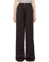 Balenciaga ブラック & レッド ロゴ ラウンジ パンツ