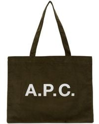 A.P.C. - カーキ Diane ショッピング トート - Lyst