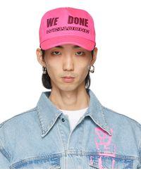 we11done Pink Logo Trucker Cap - Blue