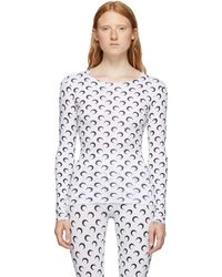 Marine Serre T-shirt a manches longues blanc All Over Moon