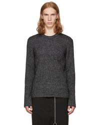Maison Margiela - Black & Off-white Ribbed Sweater - Lyst