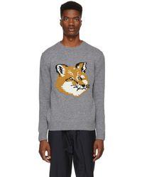 Maison Kitsuné - Grey Fox Head Sweater - Lyst