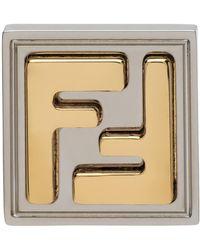 Fendi Silver & Gold Ff Earring - Metallic