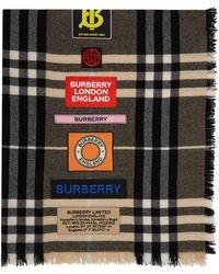 Burberry - ブラウン ジャイアント チェック ロゴ スカーフ - Lyst