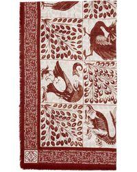 Loewe William De Morgan コレクション レッド And ホワイト モダール Animal Anagram マフラー