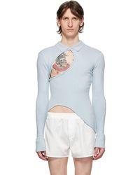 Ludovic de Saint Sernin Blue Knit Twisted Polo