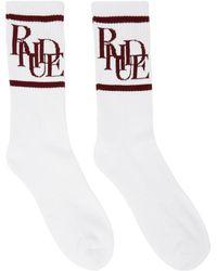 Rhude ホワイト & レッド Scramble ロゴ ソックス