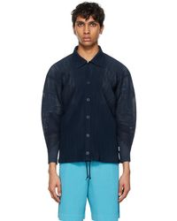 Homme Plissé Issey Miyake Navy Colorful Mesh Jacket - Blue