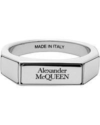 Alexander McQueen Silver Logo Signet Ring - Metallic