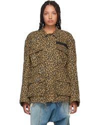 R13 Brown Denim Leopard Shredded Abu Jacket