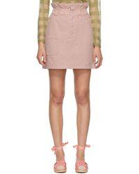 Fendi ピンク デニム ボタンアップ ミニスカート