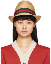 Gucci Beige Straw Web Hat - Multicolour