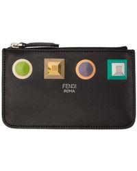 Fendi - Black Studs Zipped Coin Pouch - Lyst