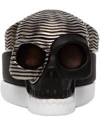 Alexander McQueen Black And White Divided Skull Ring Set