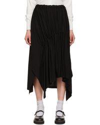 Y's Yohji Yamamoto - ブラック Shirring ミッドレングス スカート - Lyst