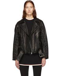 Gucci - Black Leather Mushroom Jacket - Lyst