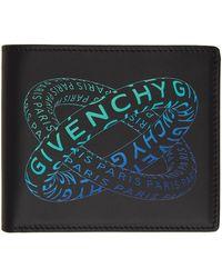Givenchy Portefeuille à deux volets noir et bleu Graphic Logo