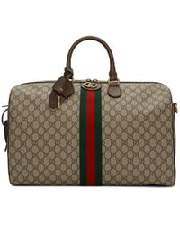 Gucci Beige GG Supreme Ophidia Duffle Bag - Brown