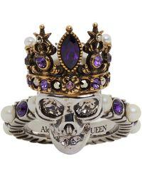 Alexander McQueen シルバー & ゴールド Queen スカル リング - メタリック