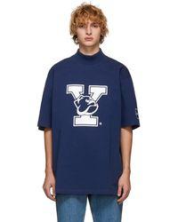 CALVIN KLEIN 205W39NYC ブルー Yale オーバーサイズ モック ネック T シャツ