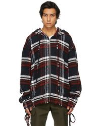 Faith Connexion Red & White Wool Checked Hoodie