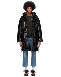 Pyer Moss Mens Black Hooded Vinyl Parka Coat