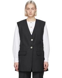 Ganni Grey Wool Suiting Vest