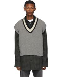 Off-White c/o Virgil Abloh Grey And Wool Varsity Sleeveless Jumper - Gray