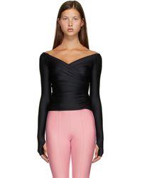 Balenciaga V-neck Wrap Top - Black