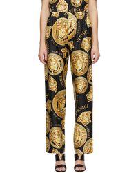 Versace ブラック & イエロー Medusa Amplified パジャマ パンツ
