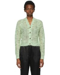 Acne Studios Green Mohair Cropped Cardigan