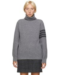 Thom Browne Gray Wool And Cashmere 4-bar Turtleneck