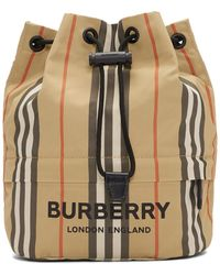 Burberry Beige Nylon Drawcord Check Pouch - Natural