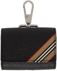 Burberry Icon Stripe Print Grainy Leather Airpods Pro Case - Black
