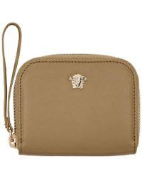 Versace - Beige Medusa Compact Zip Around Wallet - Lyst