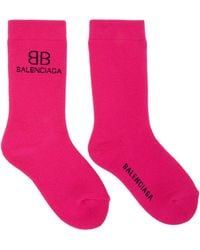 Balenciaga ピンク & ブラック Bb ソックス