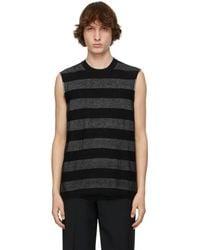 Comme des Garçons ブラック & シルバー ストライプ セーター