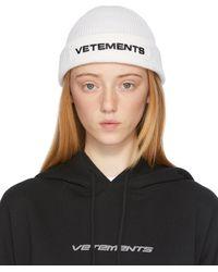 Vetements ホワイト ロゴ ビーニー - ブラック