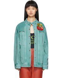Gucci Blue Denim Cherry Patch Jacket