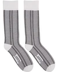 Lanvin - White And Black Check Logo Socks - Lyst